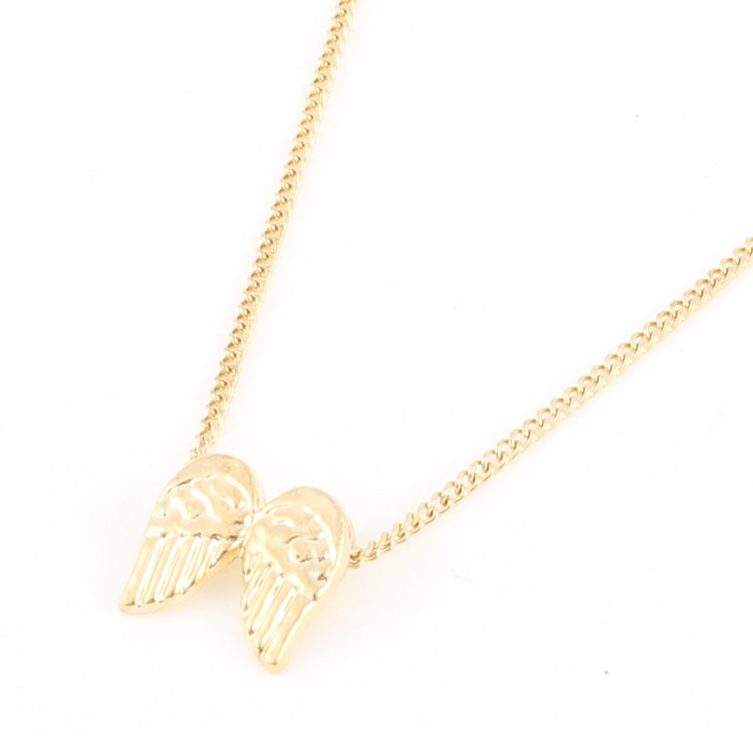Gold Tone Angle Wing Pendant Slim Metal Chain Necklace for Lady