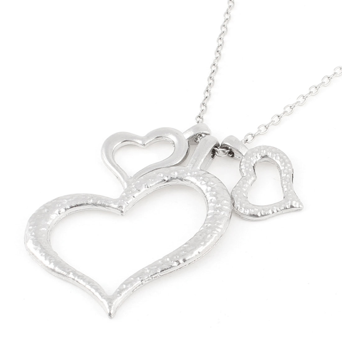 Silver Tone Hearts Pendant Slim Metal Chain Necklace for Lady