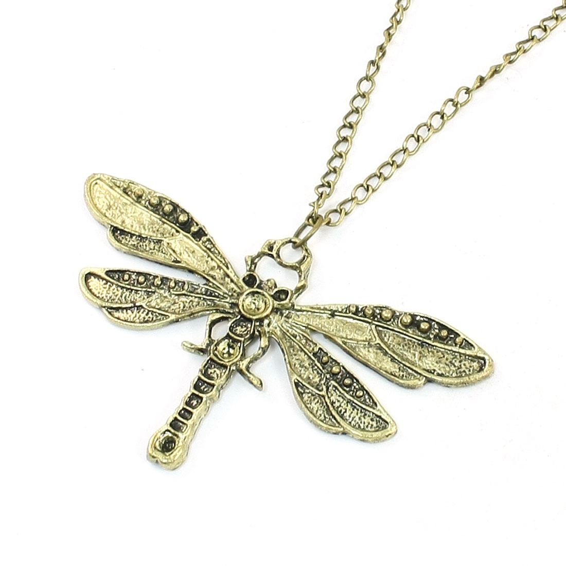 Lady Bronze Tone Dragonfly Shaped Pendant Metal Adjustable Necklace