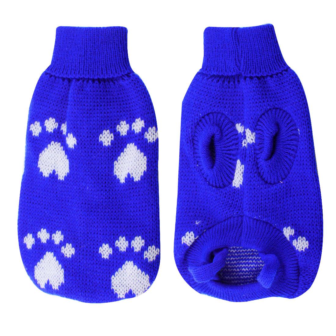 Pet Dog Puppy Knitting Turtleneck Paw Pattern Sweater Apparel Blue White Size XXS