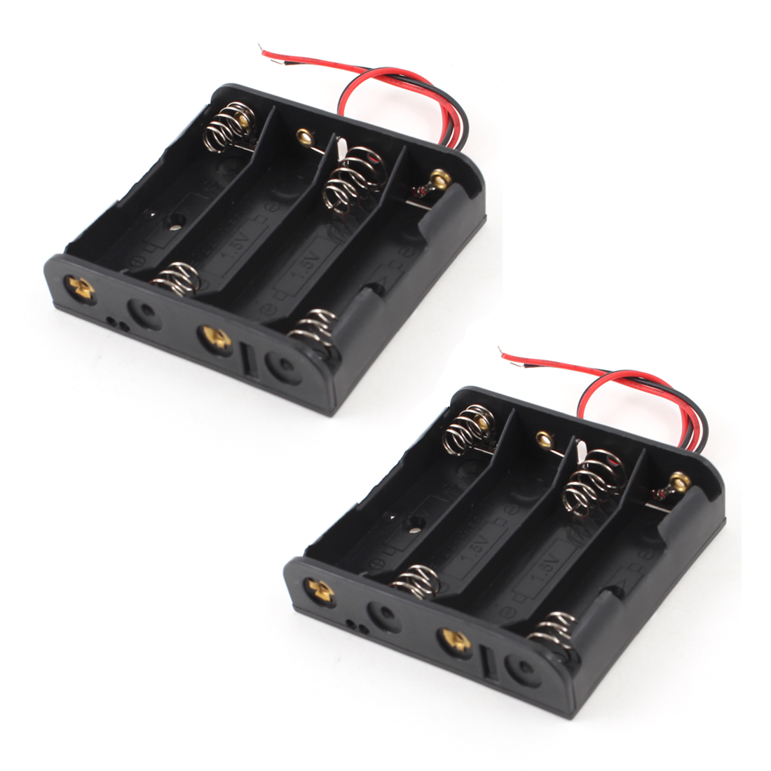 2Pcs 14cm Wire Leads Black 4 x 1.5V AA Battery Case Holder