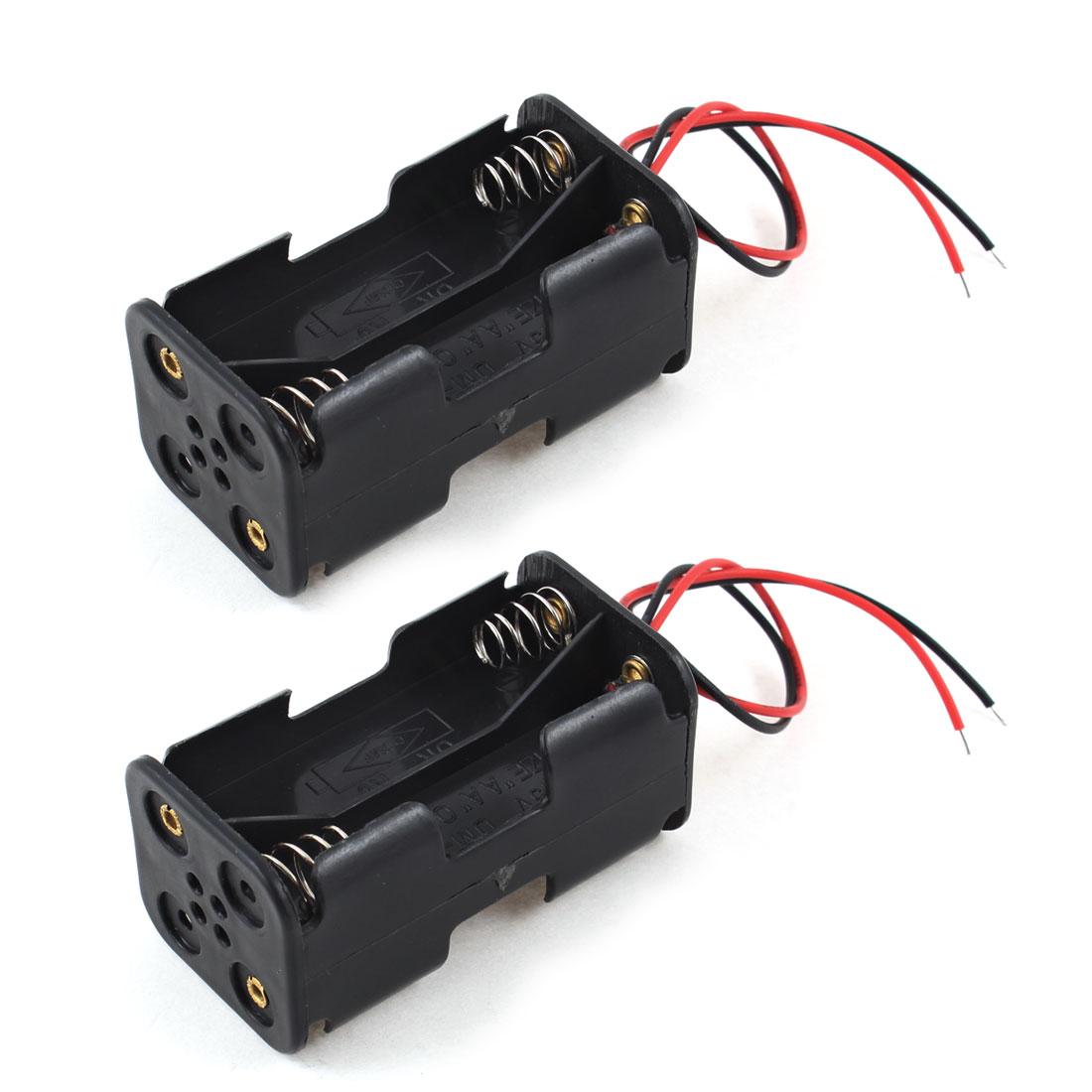 2Pcs 14cm Wire Leads Black 4 x 1.5V AA Back to Back Battery Case Holder