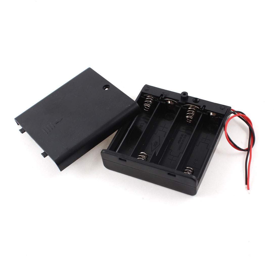 Electrical Battery Cell Box Case Lead 4 x 1.5V AA Black + Cap