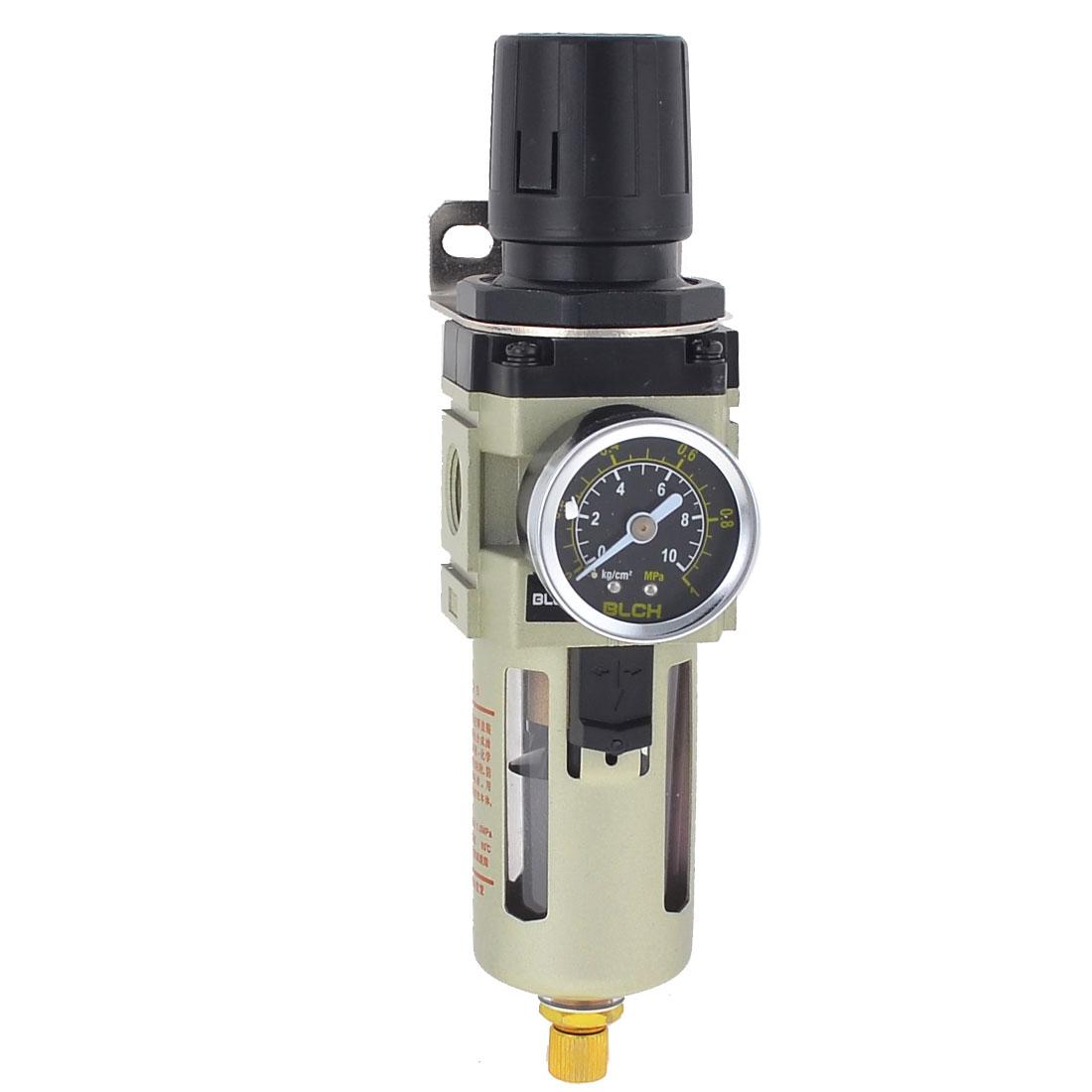 """3/8"""" PT Joint Pipe Dia Pneumatic Air Pressure Filter Regulator w Gauge"""