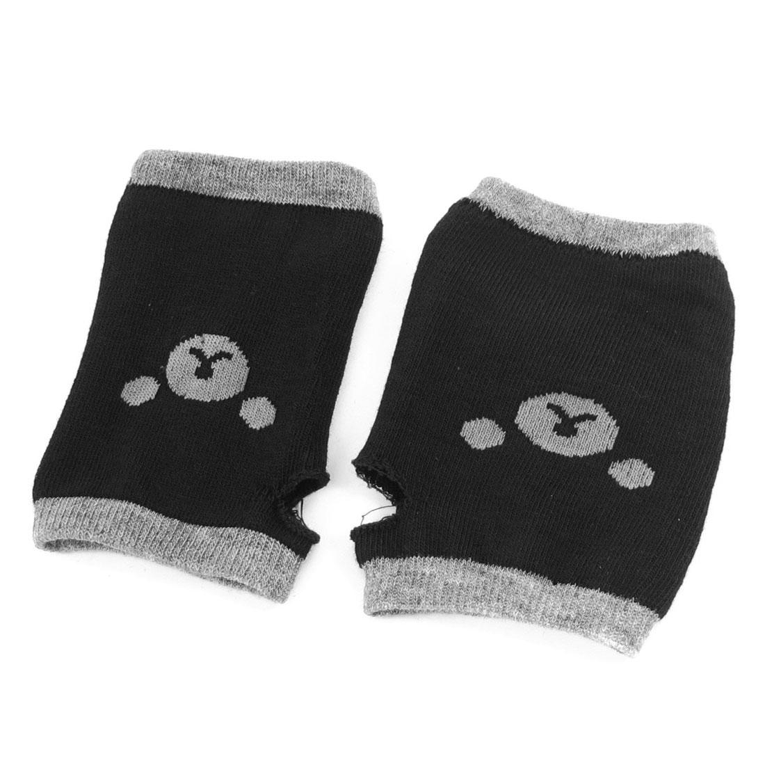 Pair Black Knitted Elasticity Hand Wrist Fingerless Gloves for Lady