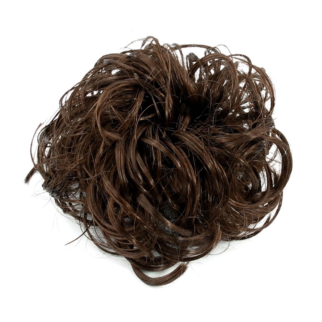 """5.1"""" Dia Girl DIY Party Wedding Brown Chignon Faux Hair Hairpiece Bun"""