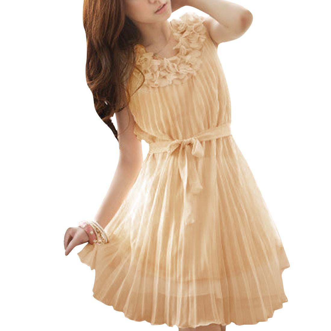 Ladies Apricot Sleeveless Pleated Round Neck Casual Dress M
