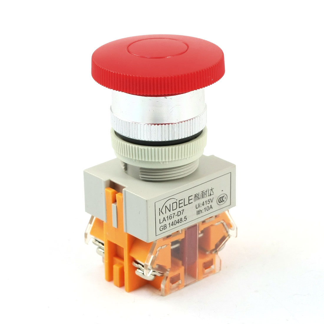DPST Momentary 415V Ui 10A Ith Red Mushroom Head Pushbutton Switch