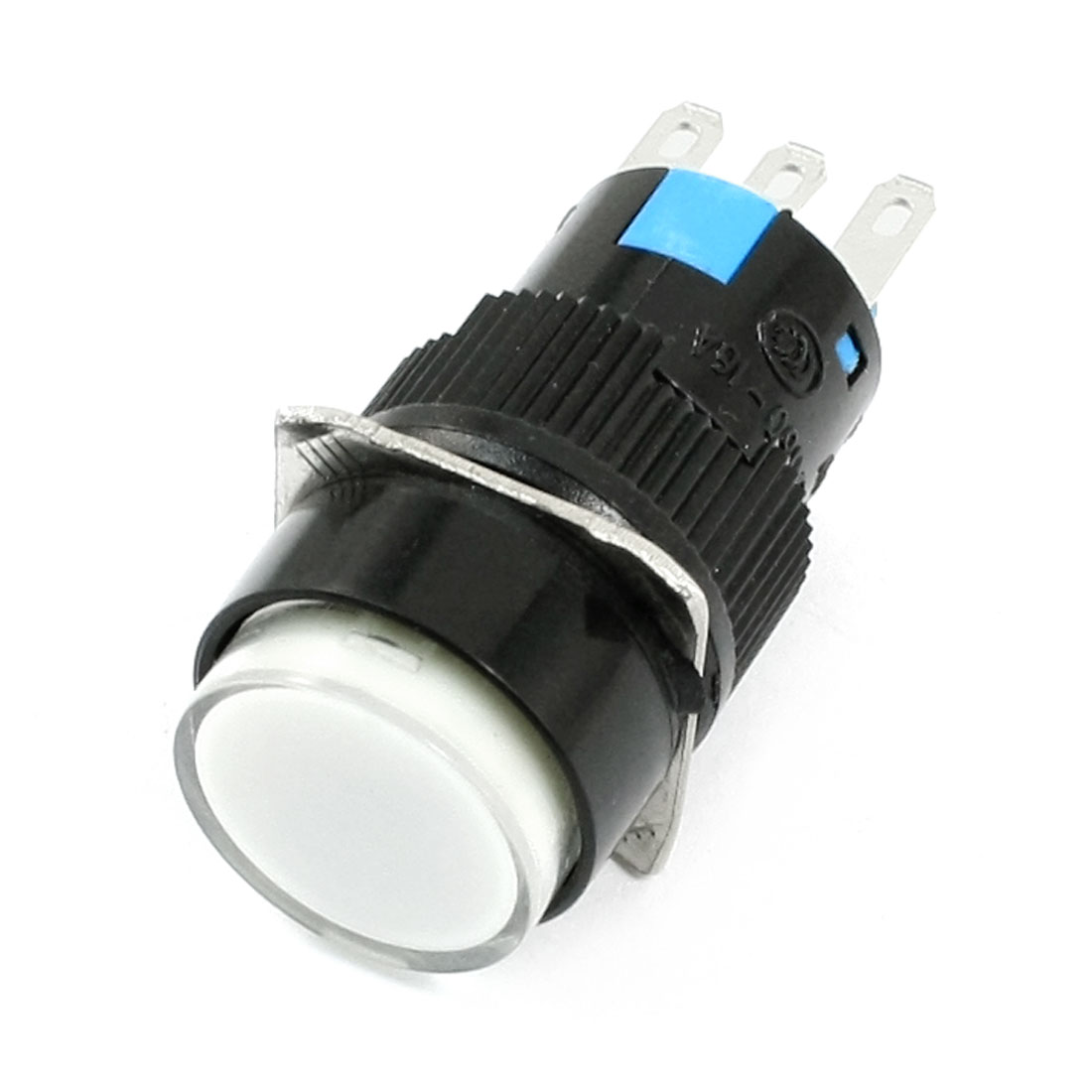 White Pilot Lamp SPDT Momentary Round Flat Head 3 Terminal Pushbutton Switch