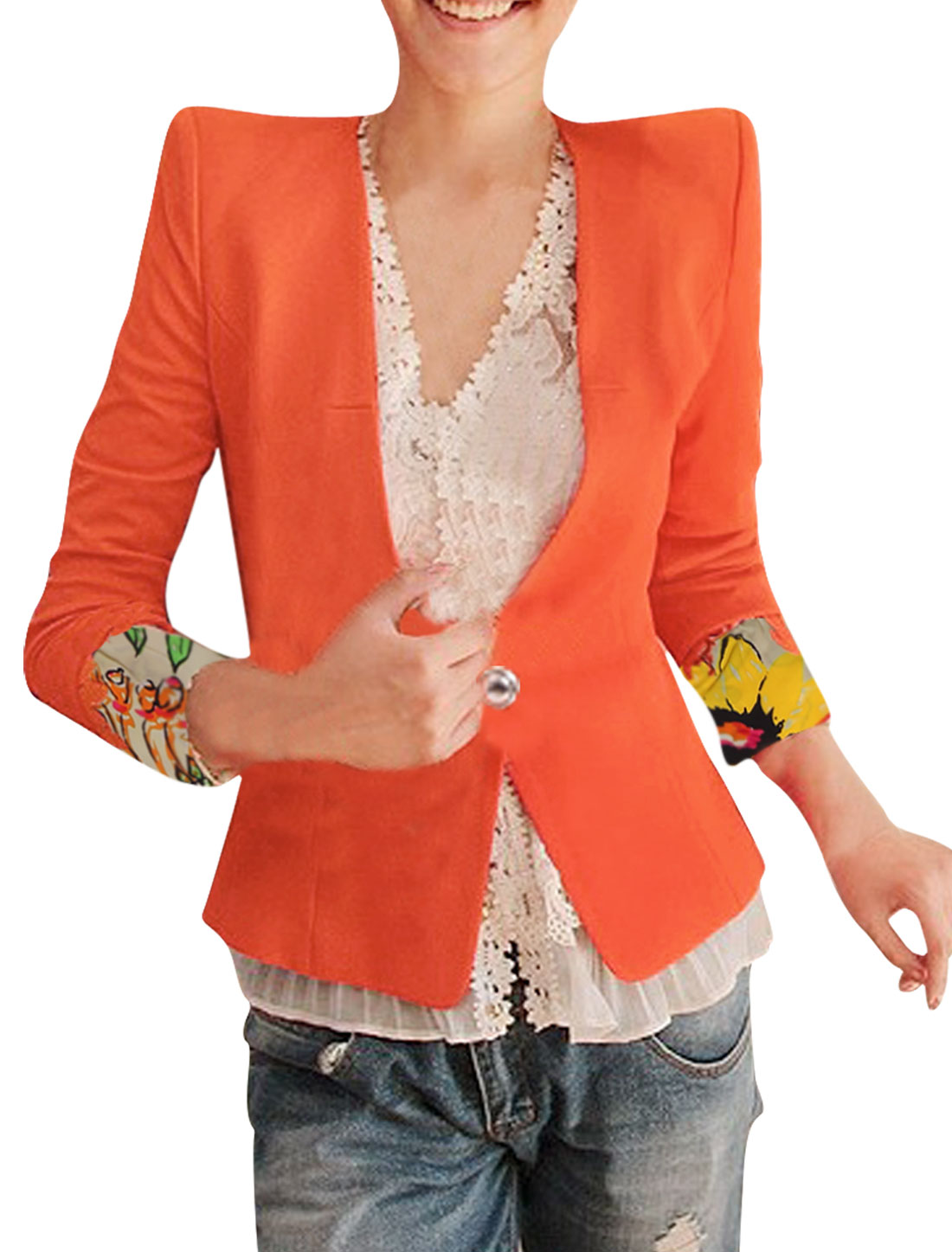 Women Button Closure Floral Prints Detail Slim Fit Blazer Orange XS