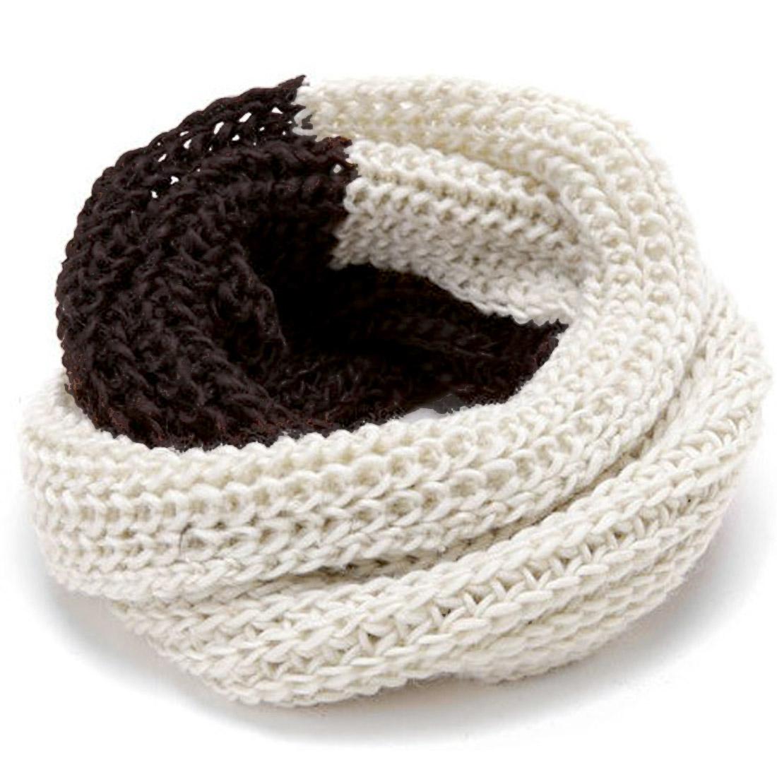 Men Winter Wearing Stylish Brown White Knit Scarf