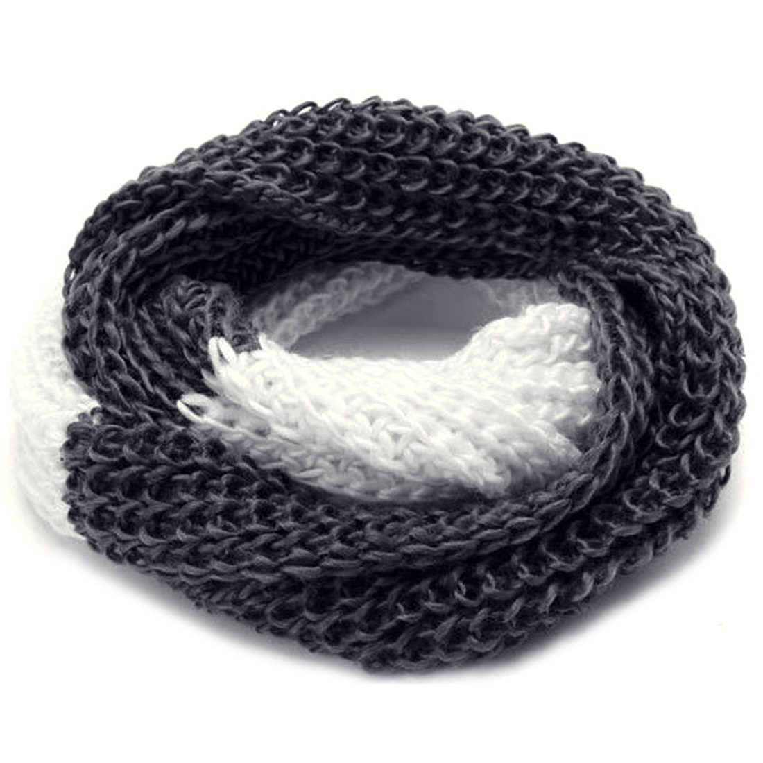 Men Warm Winter Pure Pattern Ebony White Knitting Scarf
