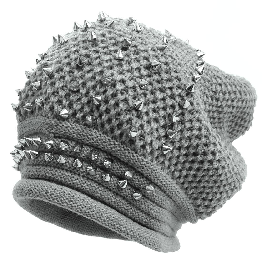 Men Studs Decor Design Crochet Knitting Gray Silver Tone Beanie Hat