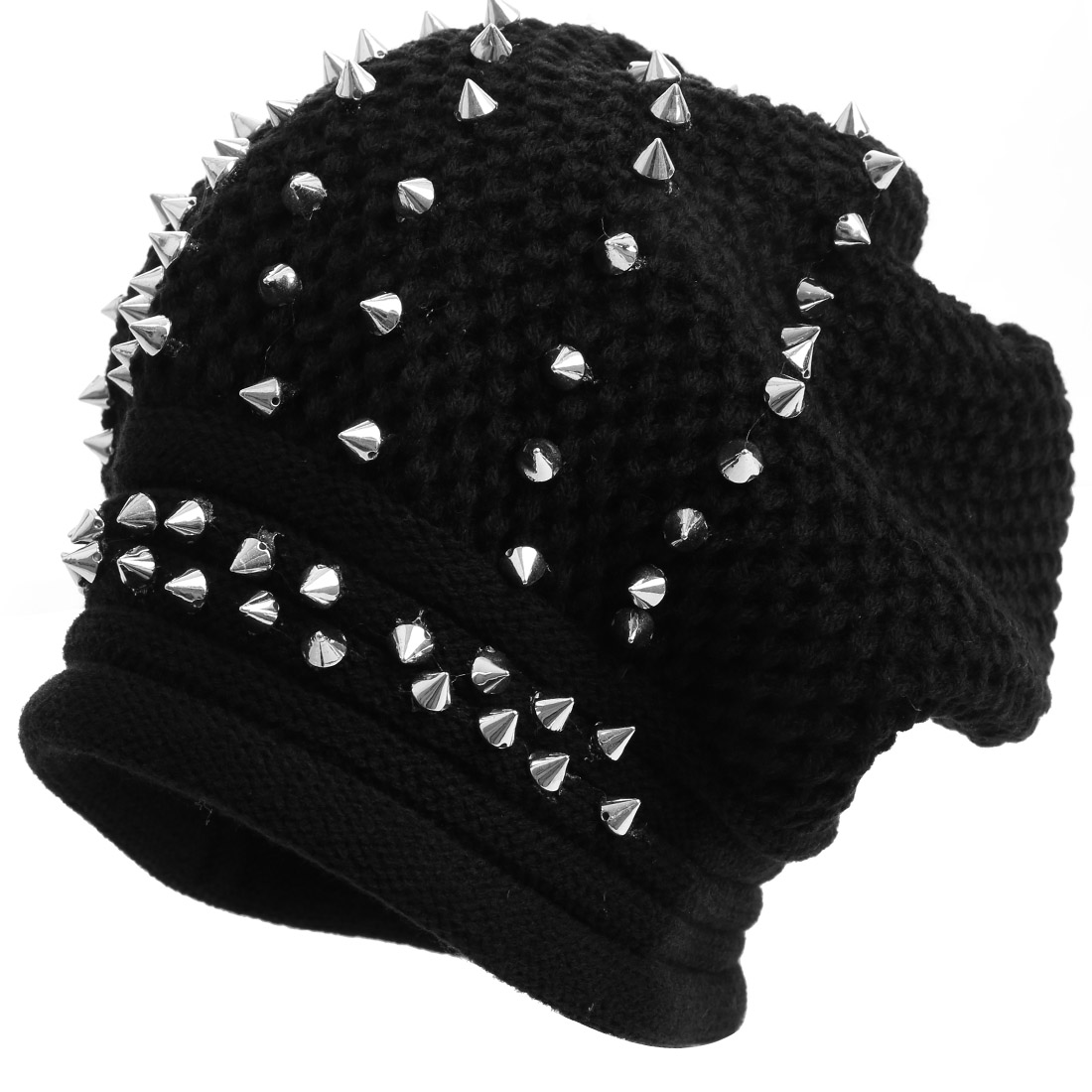 Men Crochet Knitting Stylish Black Silver Tone Beanie Hat