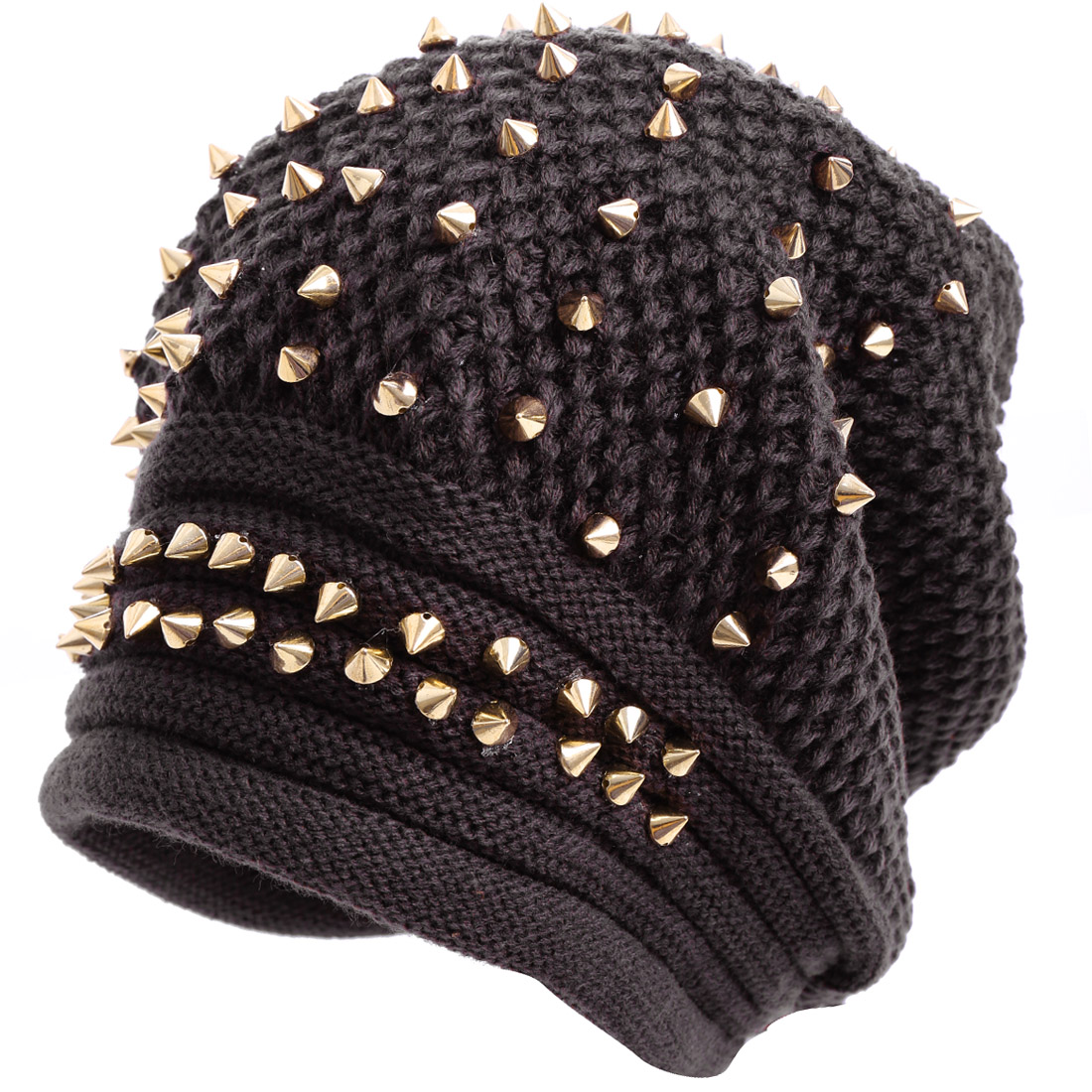 Men Ear Protection Drak Brown Gold Tone Knitted Beanie Hat
