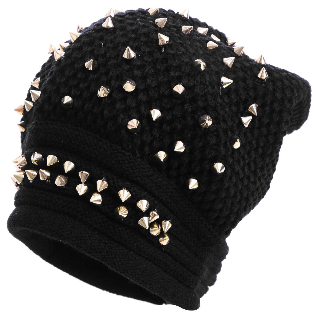 Men Stretchy Studs Decor Black Gold Tone Knit Beanie Hat
