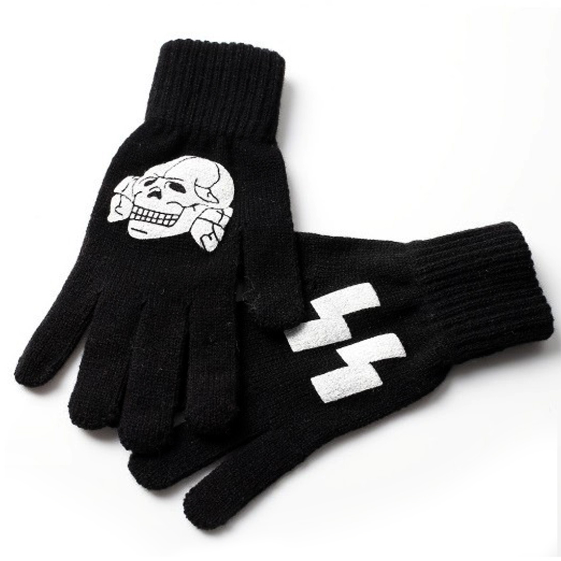 Men Skull Pattern Hand Warmer Black Knitted Gloves Pair