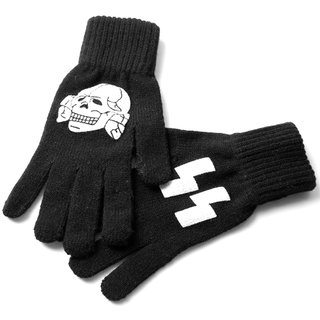 Men Five Fingers Geometric Prints Dark Gray Knit Gloves Pair