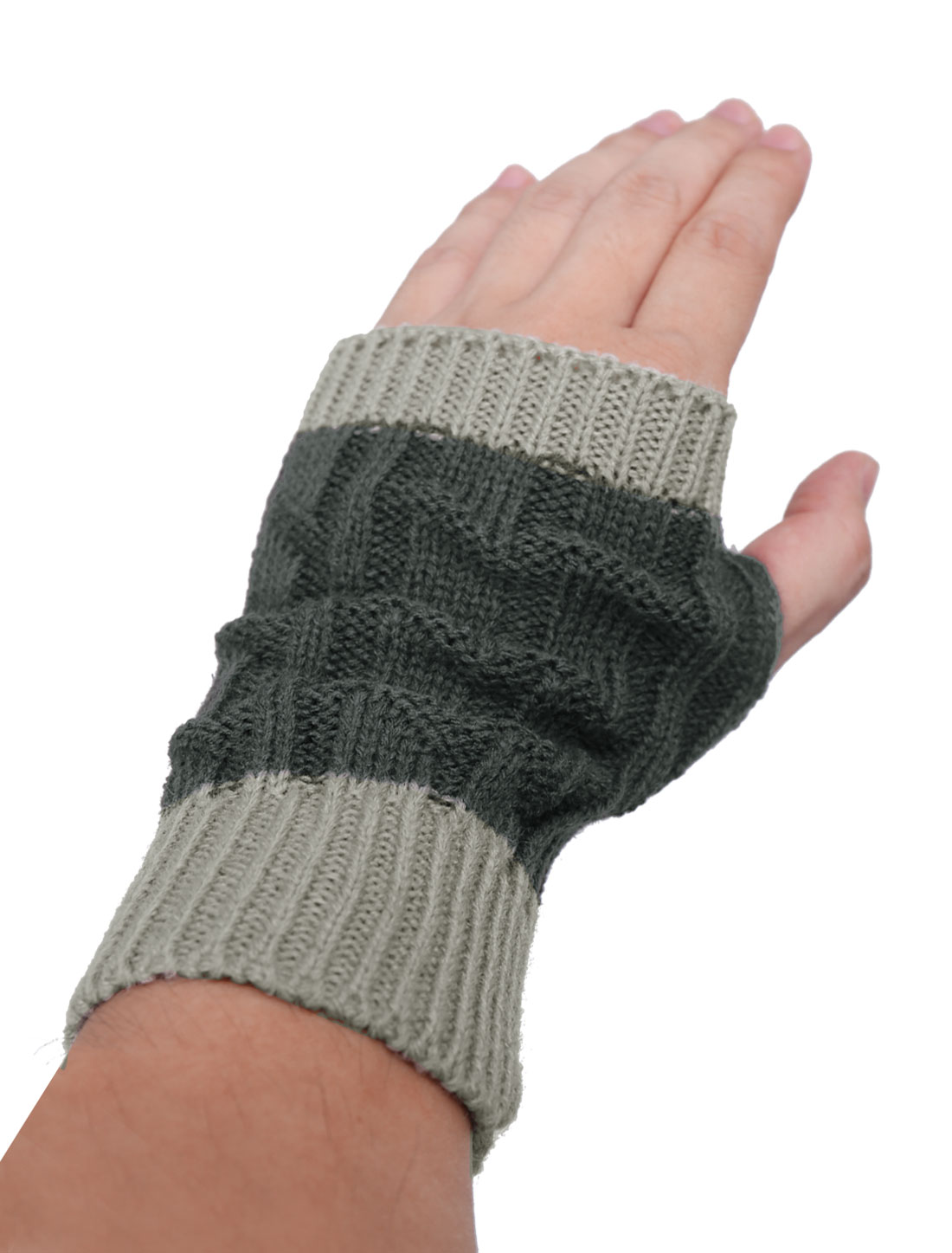 Unisex Gray Color Contrast Thumb Hole Elastic Cuff Gloves Pair