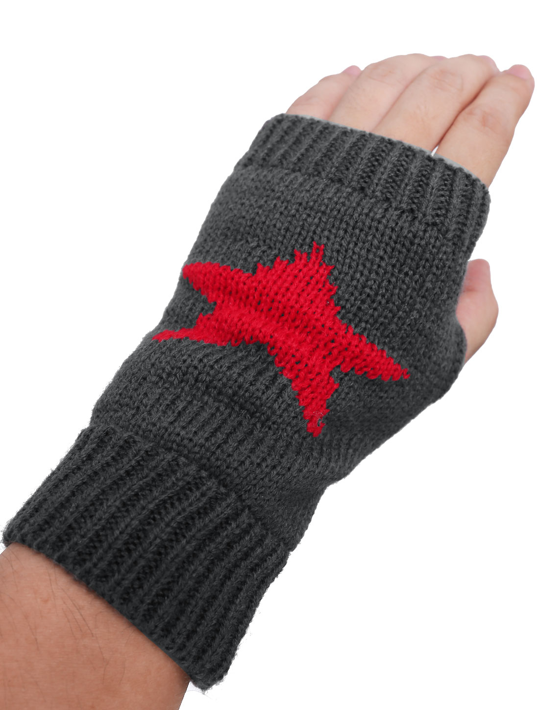 Dark Gray Star Pattern Thumb Hole Knitted Gloves Pair for Unisex