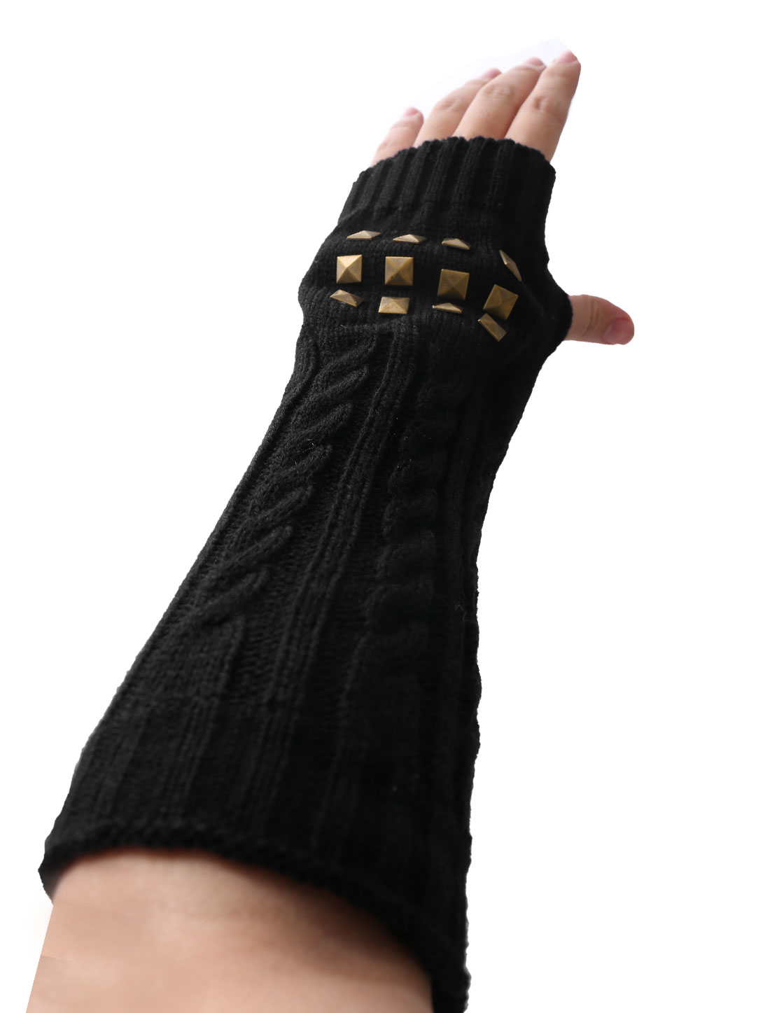 Black Unisex Rivet Decor Knitted Elastic Cuff Long Gloves Pair