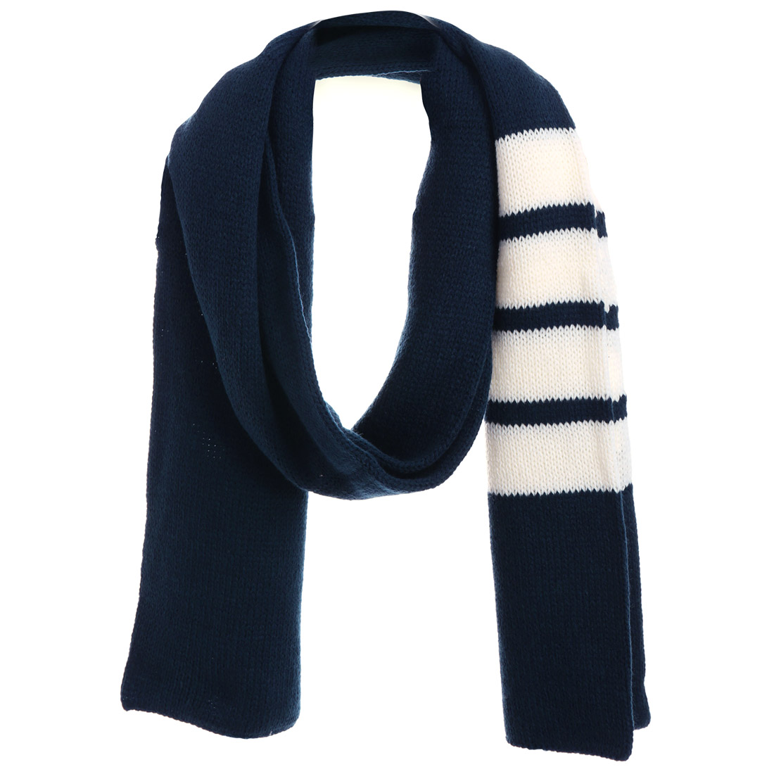Men Warm Winter Stretchy Navy Blue White Knitted Scarf