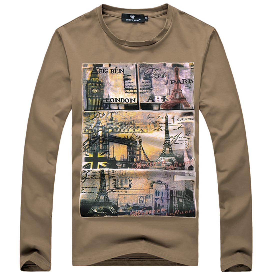 Men Letters Prints Long Sleeved Casual Khaki Shirt S