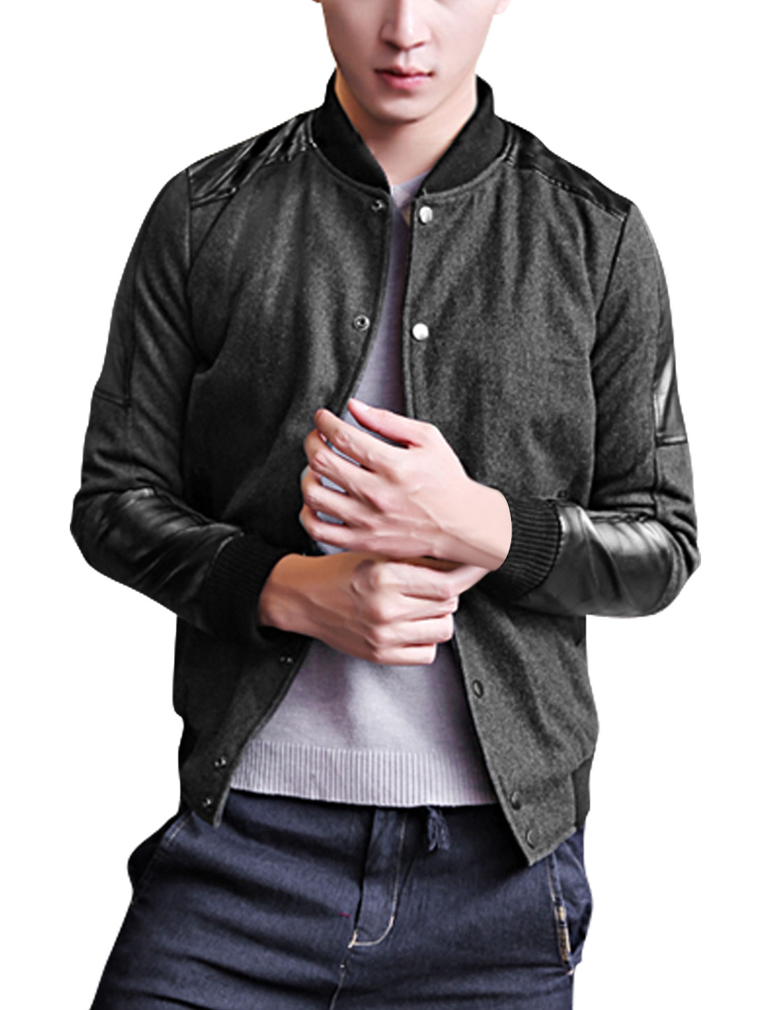 Men Stand Collar Long Sleeved Dark Gray Worsted Bomber Jacket M