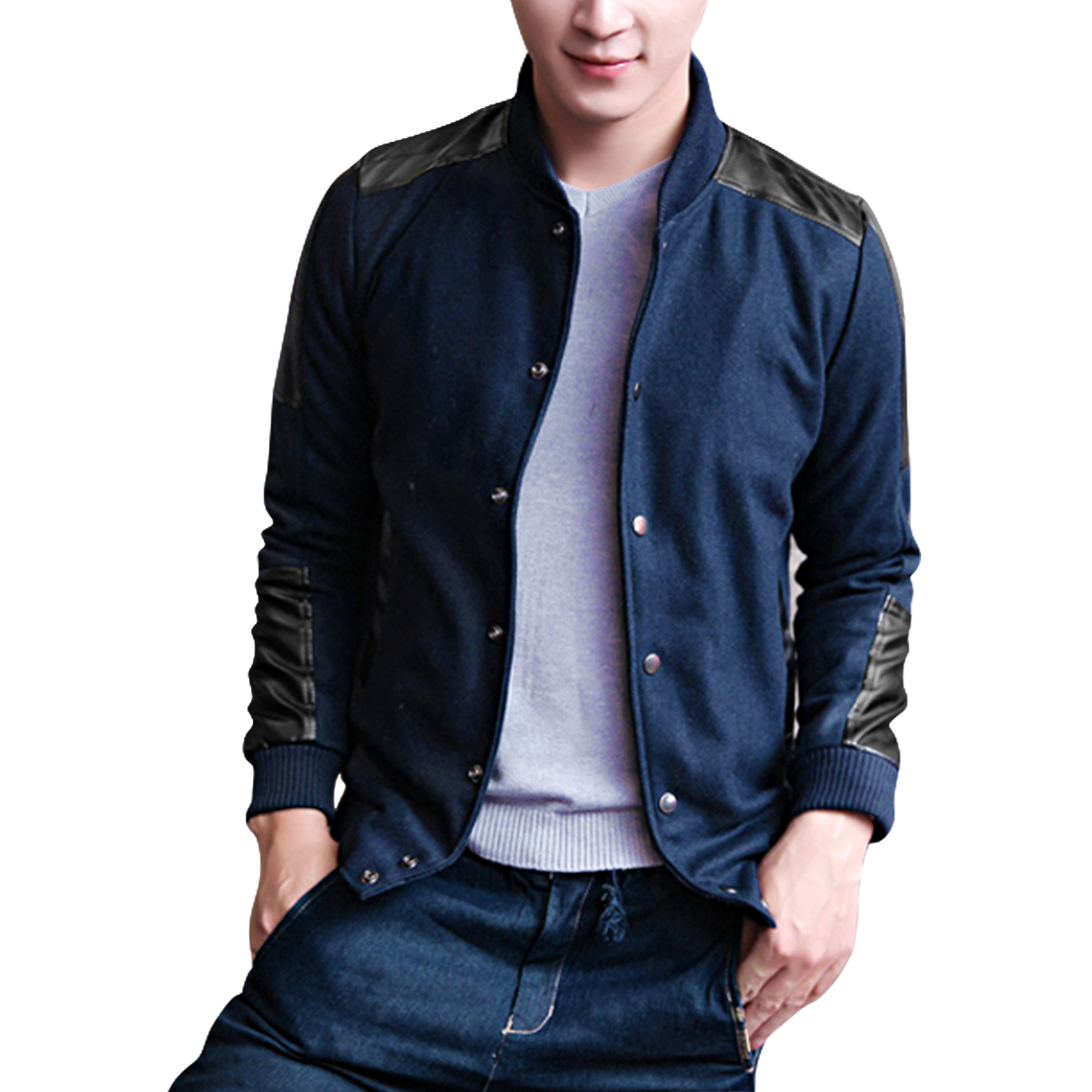 Men Snap Fastener Stand Collar Navy Blue Worsted Bomber Jacket L