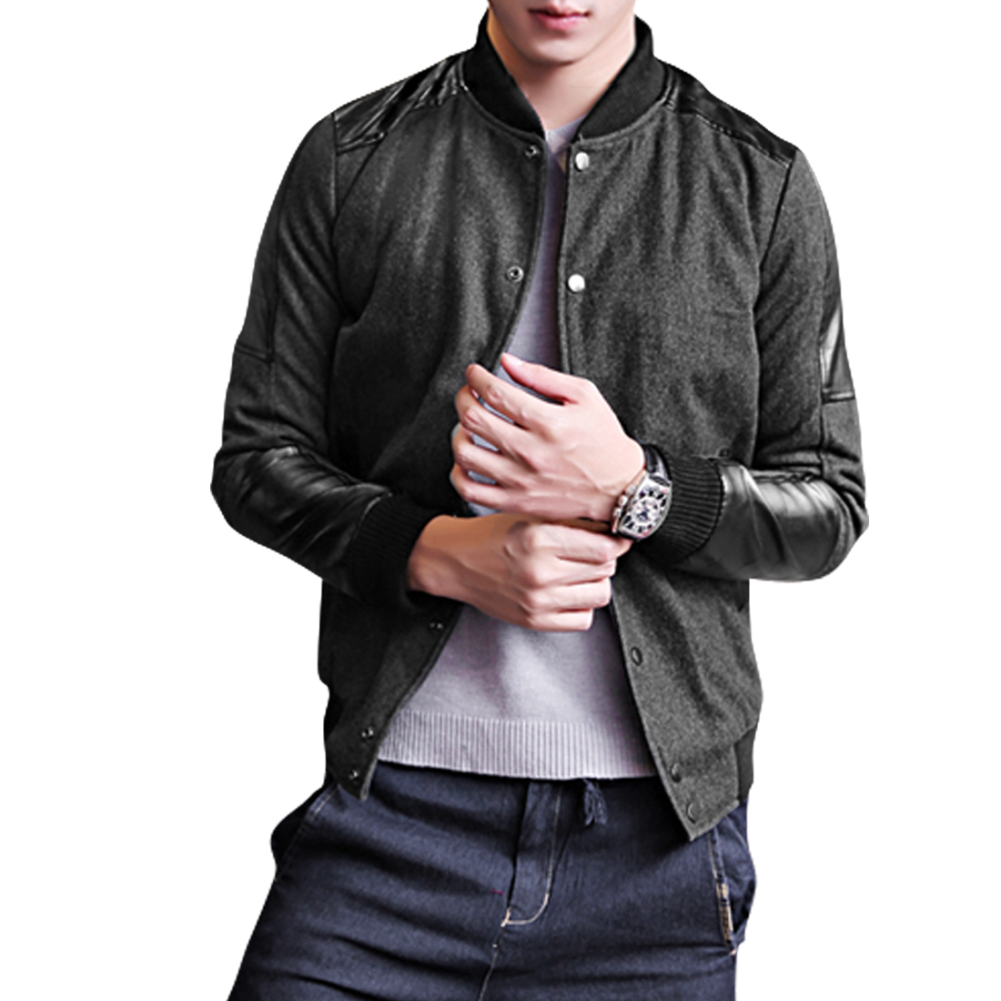 Men Long Sleeve Double Pocket Dark Gray Worsted Bomber Jacket L