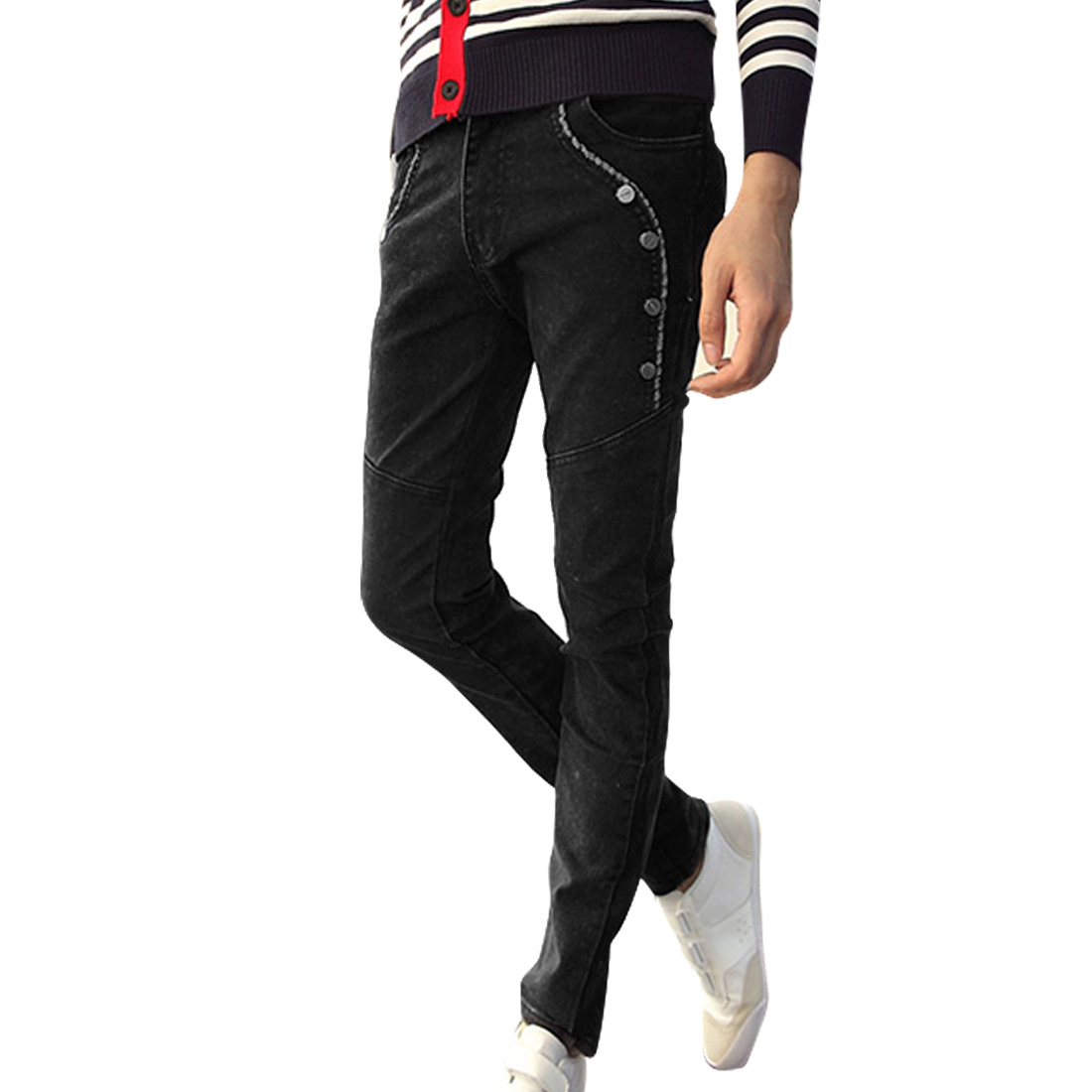 Men Button Decor Zip Closed Four Pocket Black Skinny Jeans Pants W31