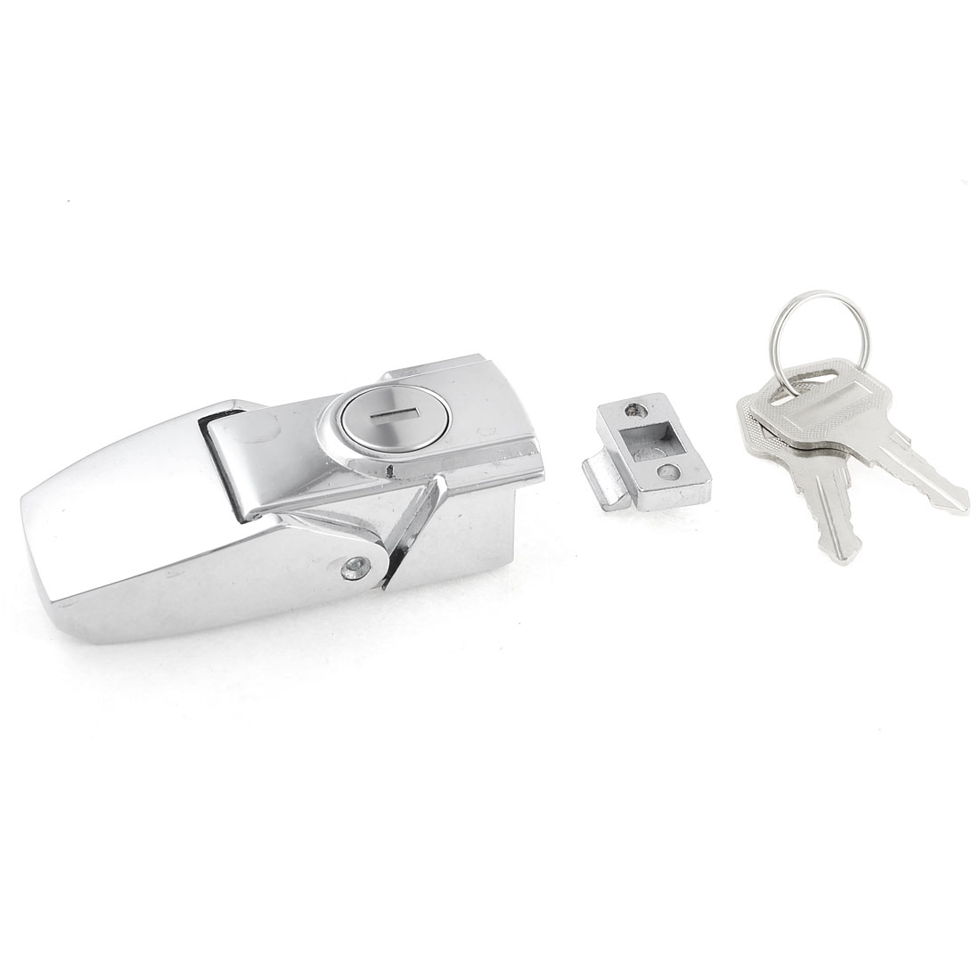 Cabinets Smooth Sliver Tone Toggle Hasp Latch Lock w Two Keys