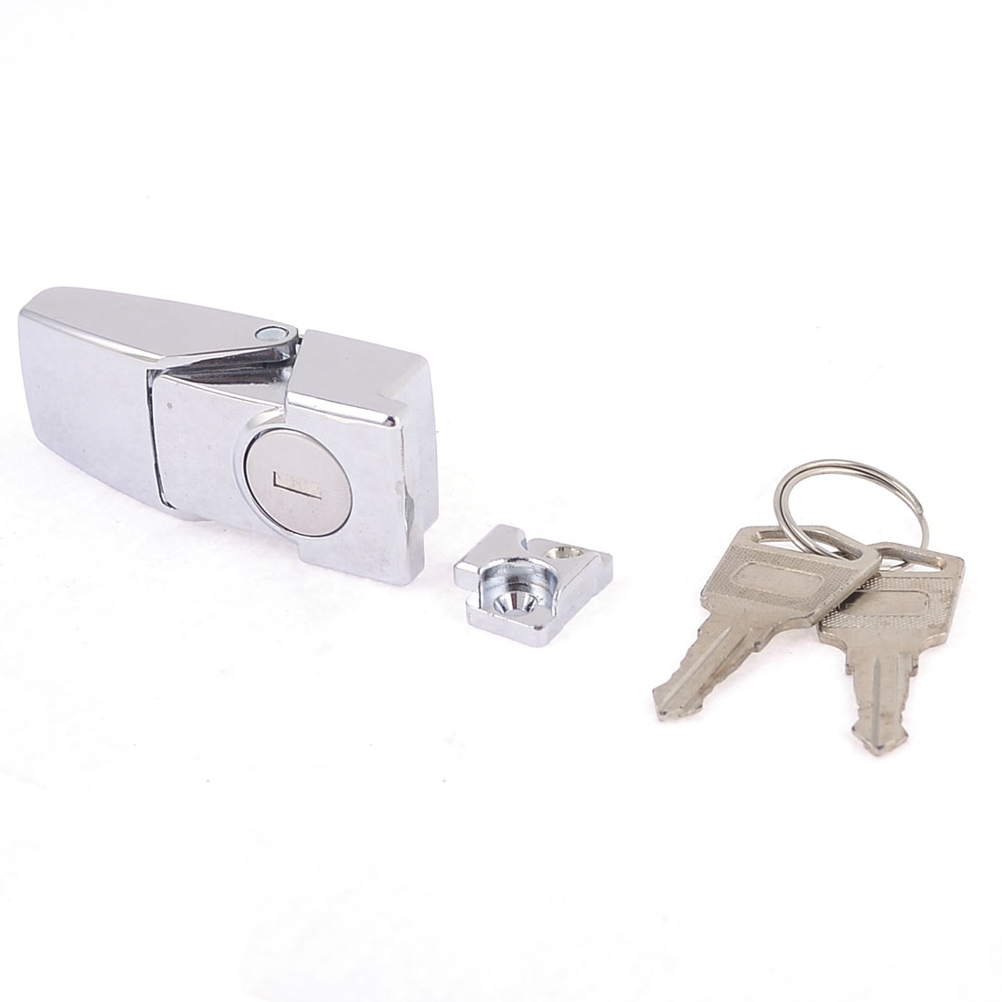 Security Sliver Tone Toggle Hasp Latch Lock w Double Keys for Cabinets