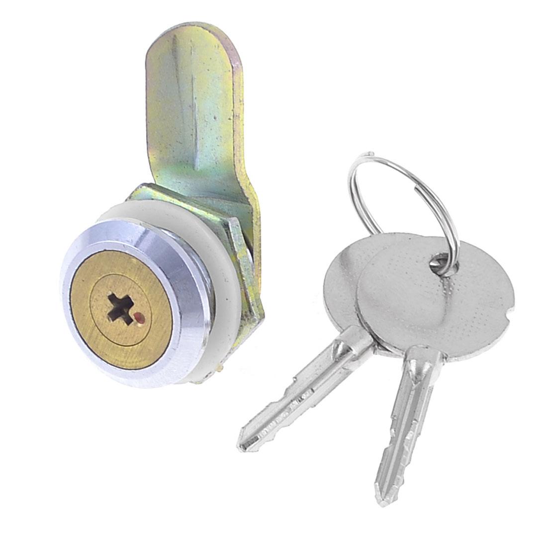 Drawer File Cabinet Locking 18mm Dia Thread Cylinder Cam Lock w Key