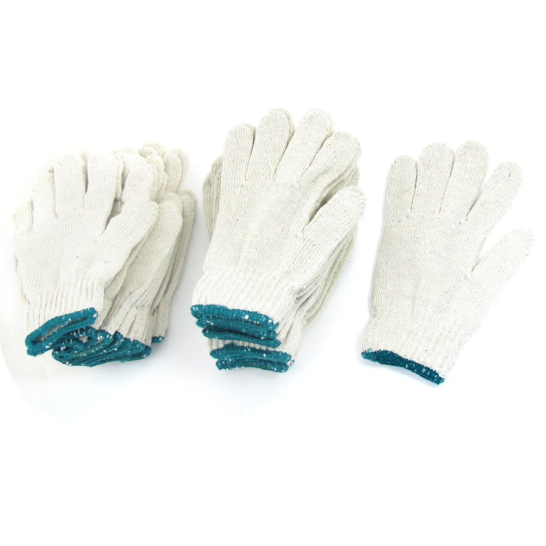 12 Pairs Elastic Cuff Full Finger Working Gloves White for Unisex