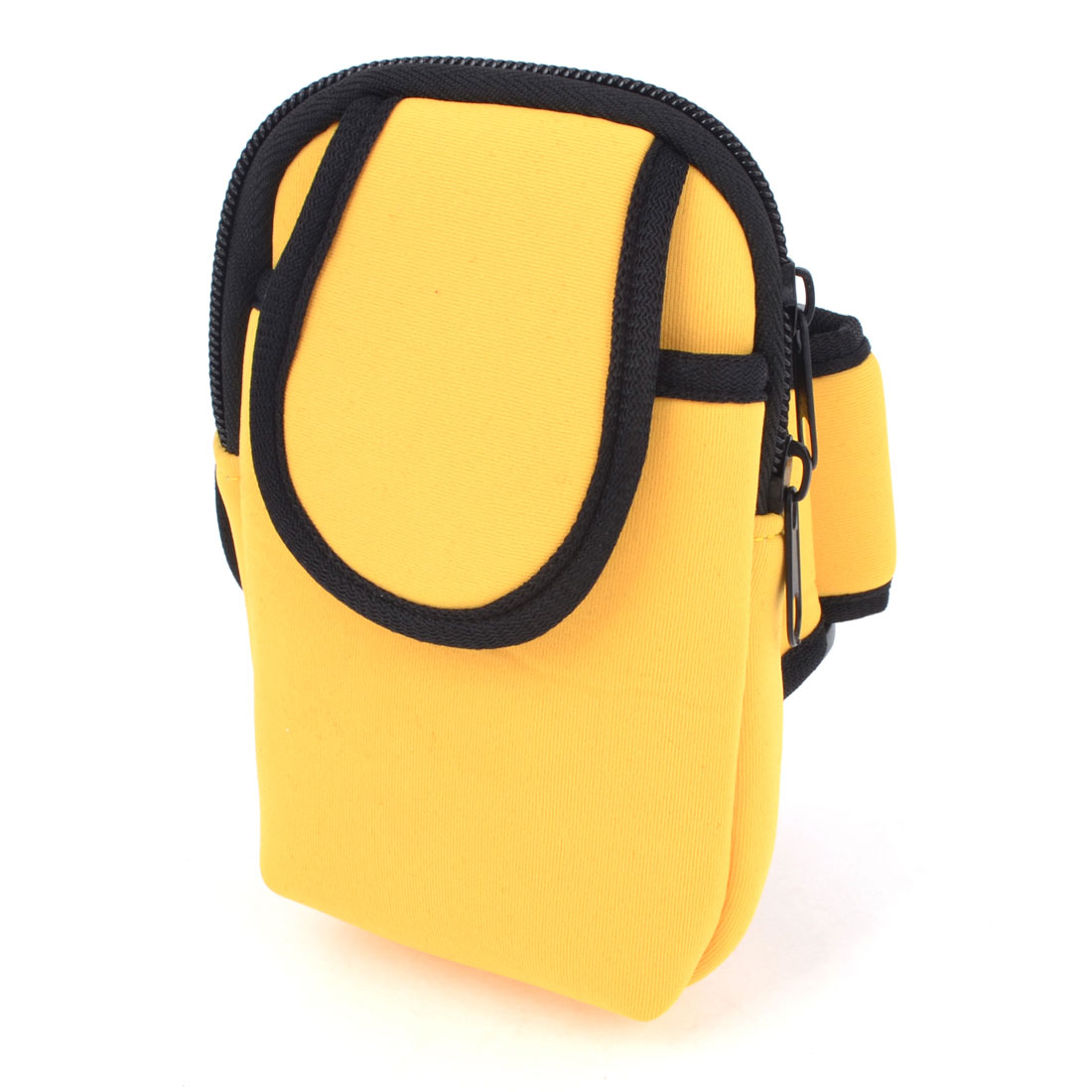 Unisex Black Yellow Hook Loop Fastener Phone Mp3 Mp4 Holder Arm Bag