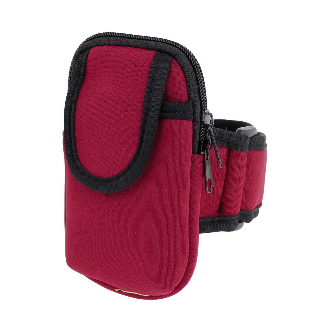 Black Red Hook Loop Fastener Phone Holder Arm Bag Protector