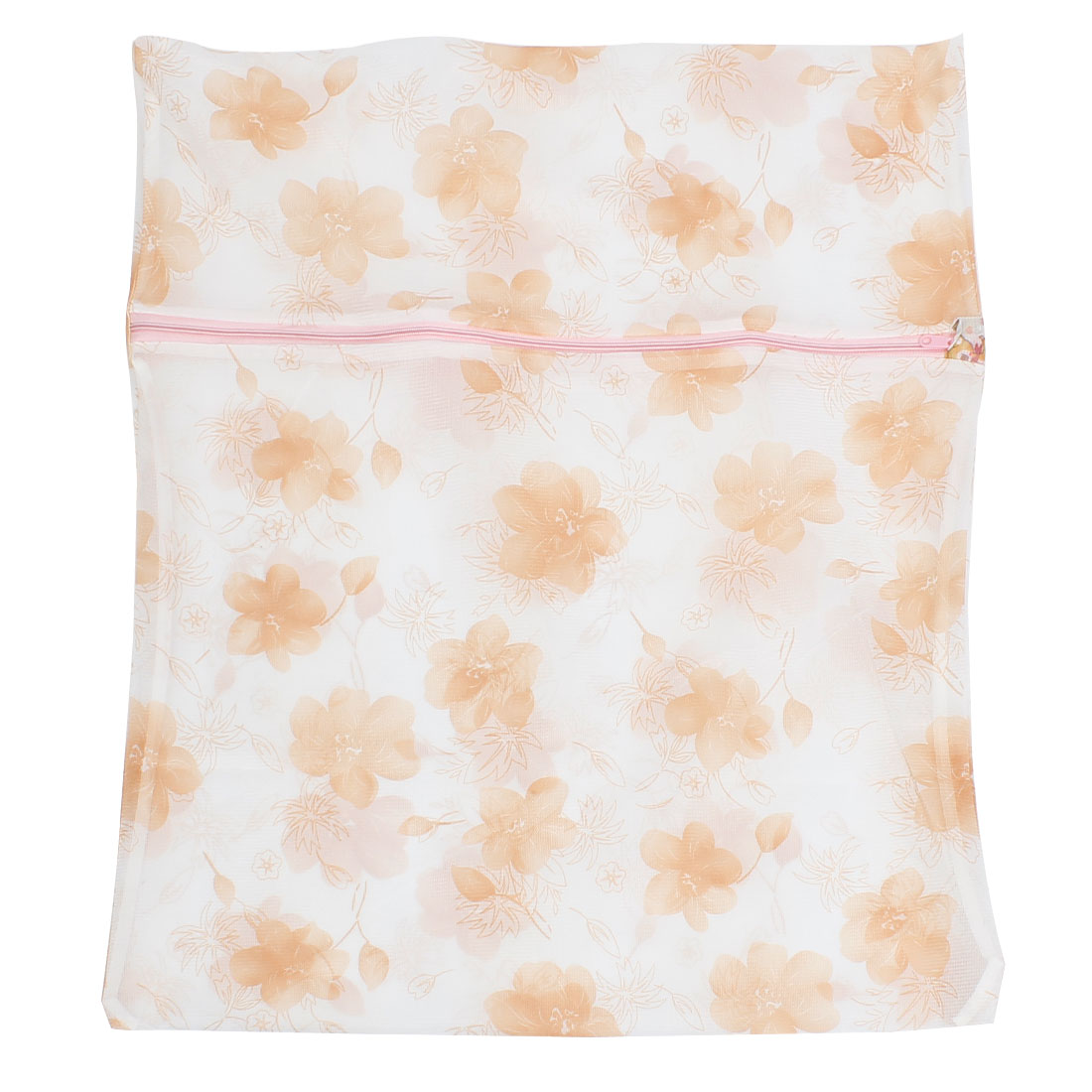 Zippered Orange Flower Prints Nylon Mesh Clothes Wash Washing Bag 58cm x 48cm