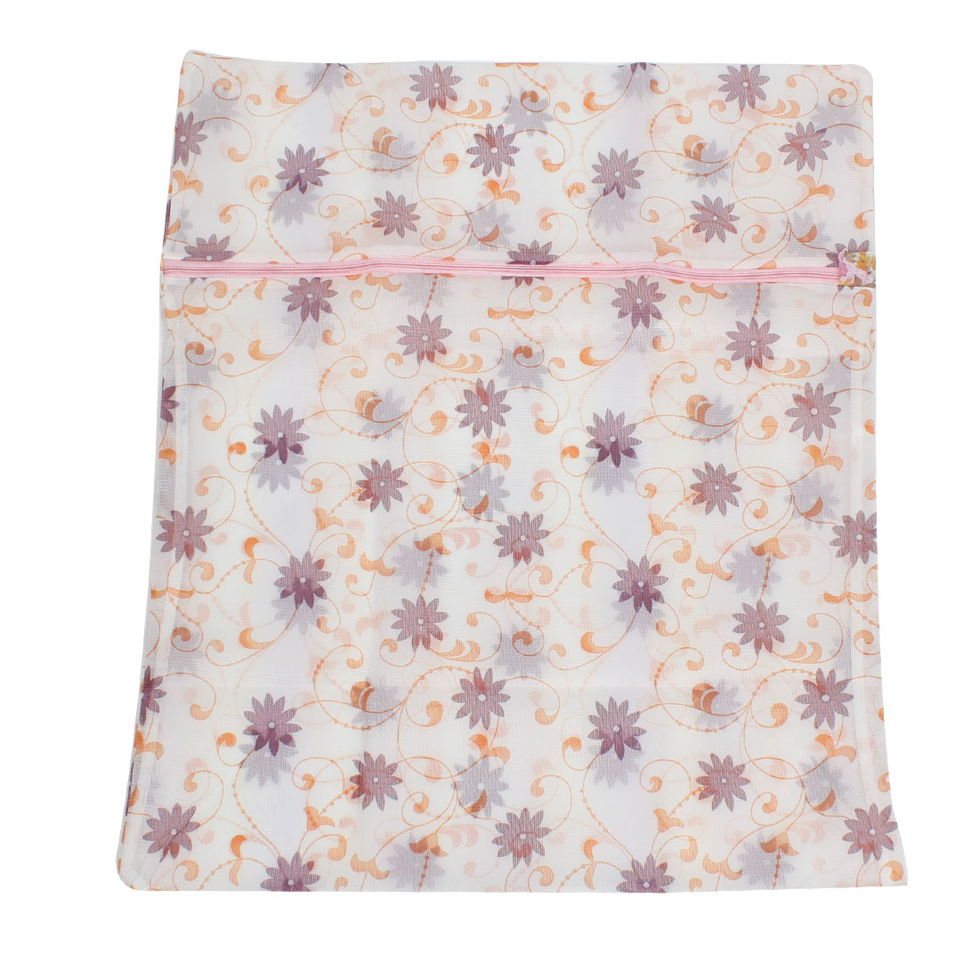 Zippered Closure Flower Print Nylon Mesh Clothes Wash Washing Bag 58cm x 48cm