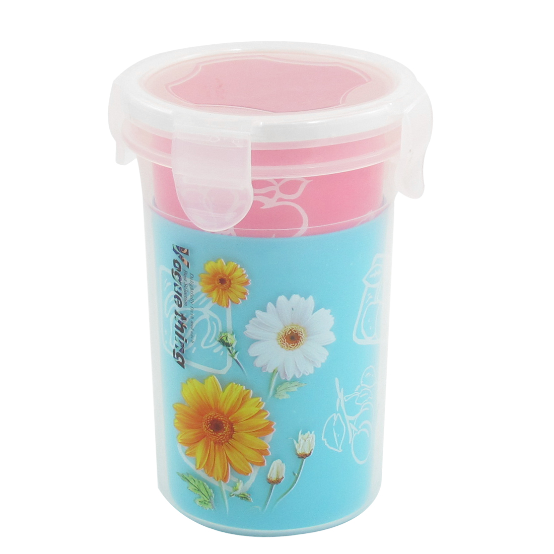 3 in 1 Portable Sunflowers Printed Plastic Water Drinking Bottle Cup Set