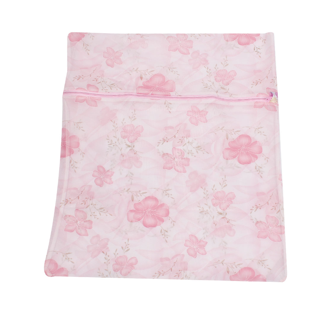 Laundry Pink Flower Print Meshy Clothes Washing Wash Bag Holder 58cm x 48cm
