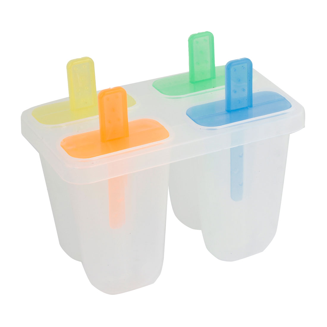 Clear Plastic 4 Compartments DIY Ice Cream Popsicle Mould Box