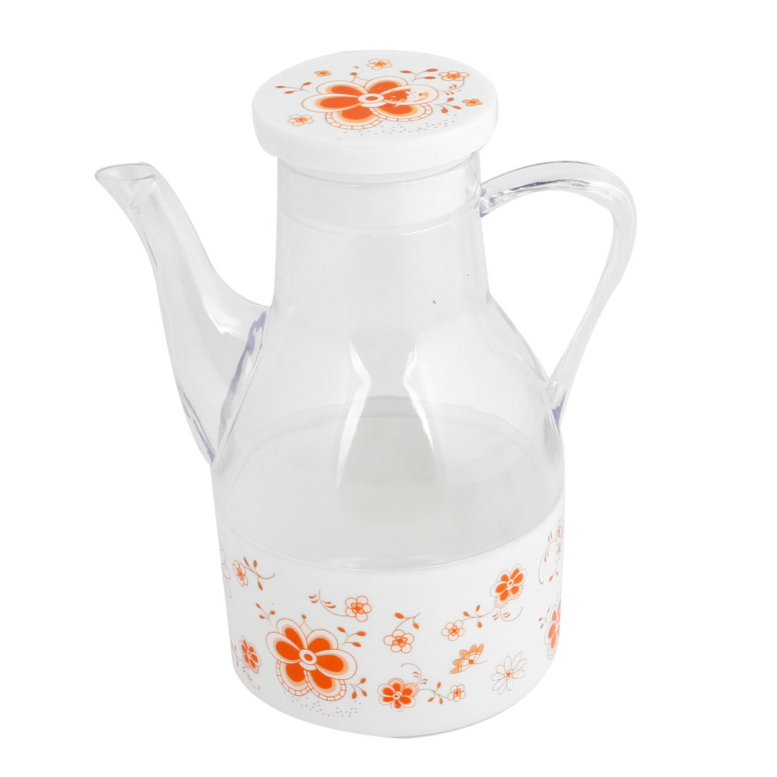 Plastic Orange Flower Pattern Cooking Vinegar Sauce Holder Pot Clear 500ml