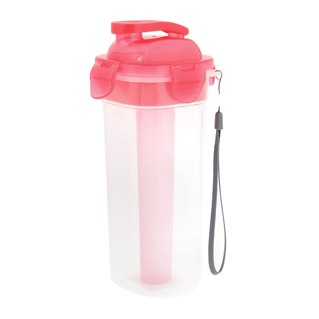 Handy Polyester Hand Strap Plastic Water Drink Bottle Pink 500ml