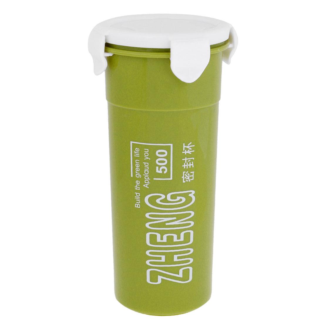 White Plastic Cover Strainer Green Cylindrical Water Tea Bottle 500ml