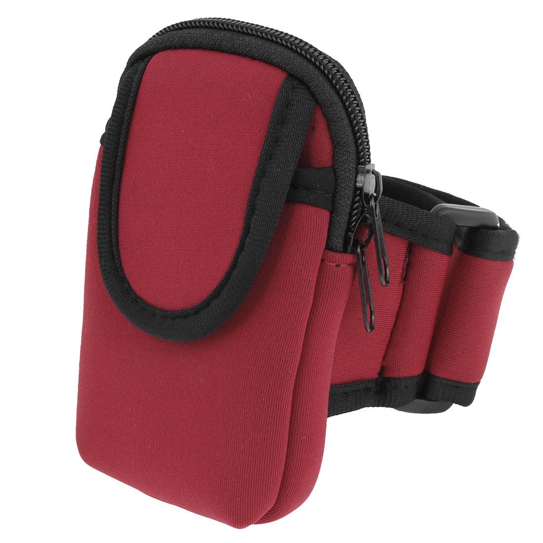 Handy Black Red Hook Loop Fastener Band Holder Arm Bag for Phone Mp4