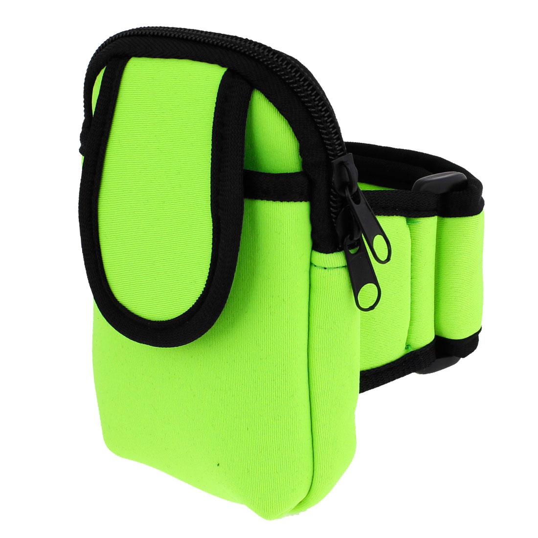 Protable Black Rim Smartphone Holder Arm Bag Protector Green