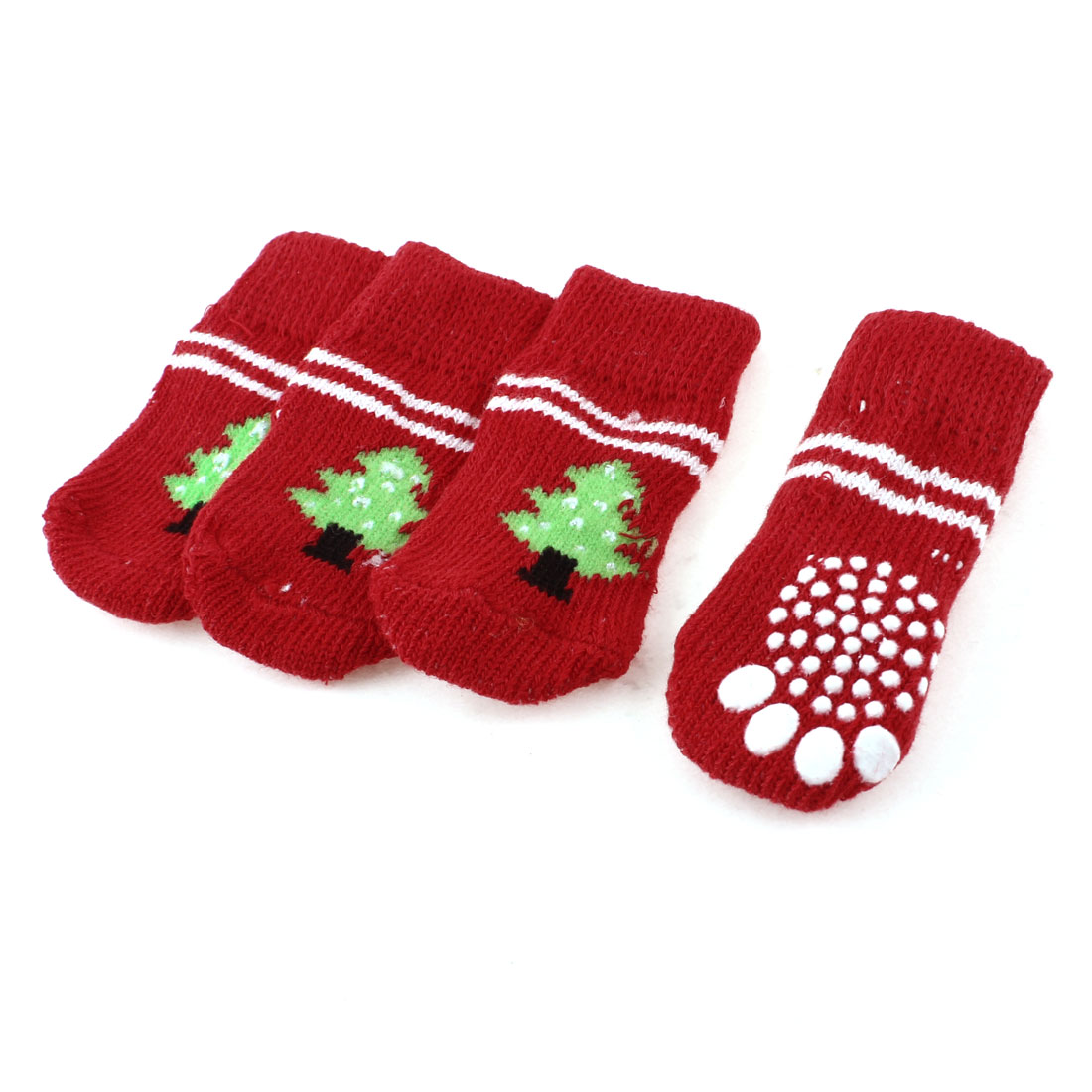 2 Pairs Red Green Tree Paw Pattern Elastic Anti Slip Pet Dog Puppy Socks