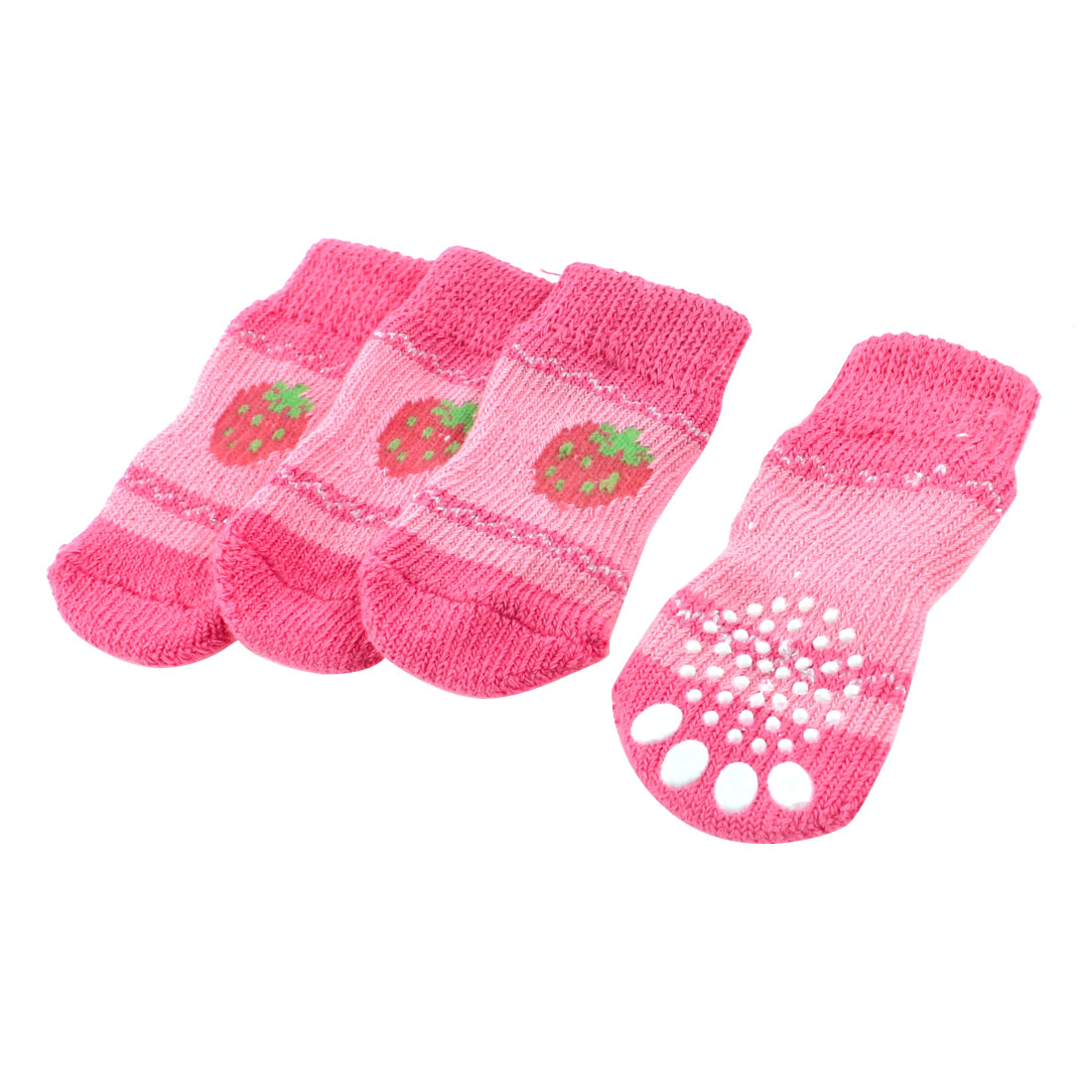 2 Pairs Pink Hand Knit Strawberry Pattern Elastic Nonslip Pet Dog Doggy Socks M