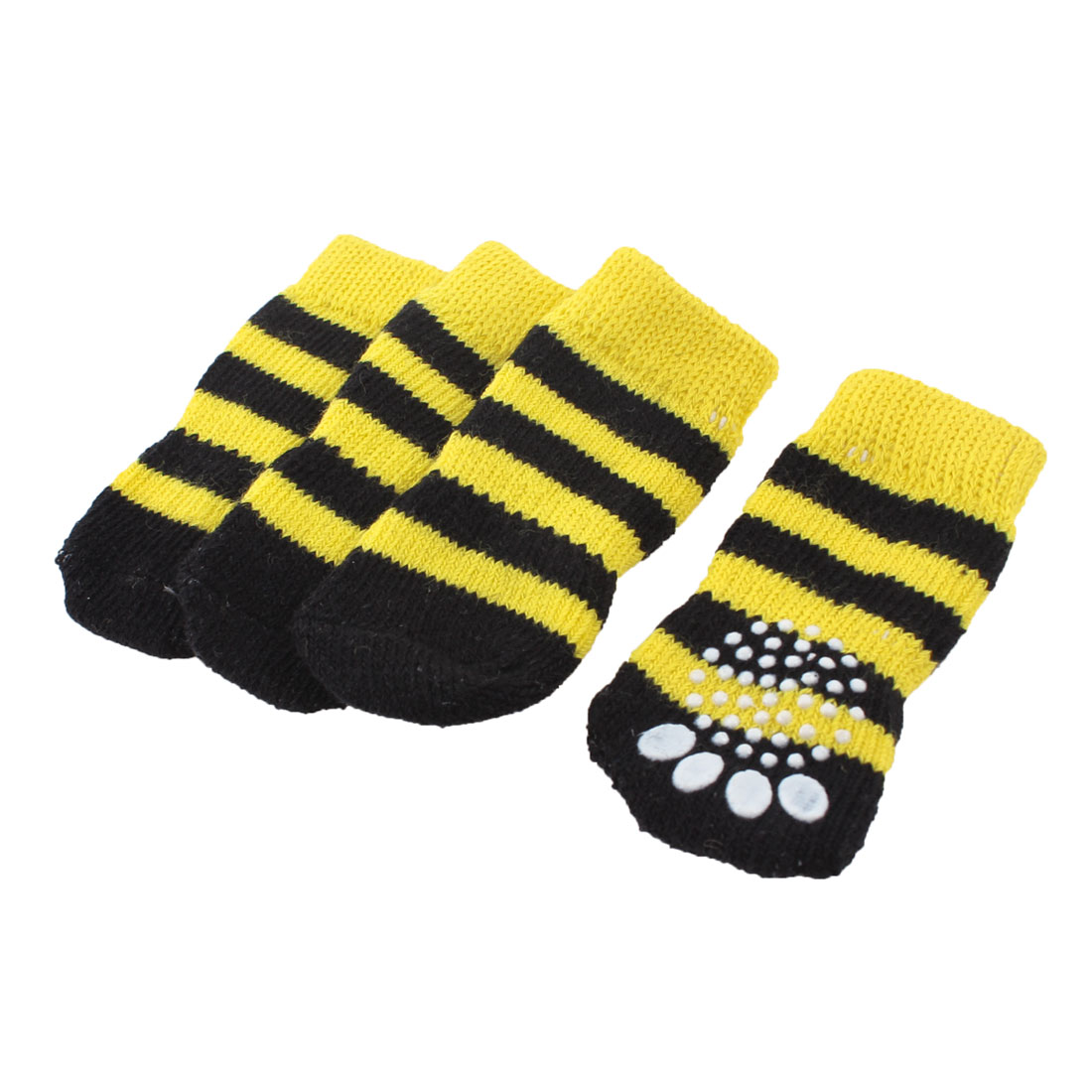 Yellow Black Knitted Stripe Paw Printed Nonslip Elastic Pet Dog Socks 2 Pairs